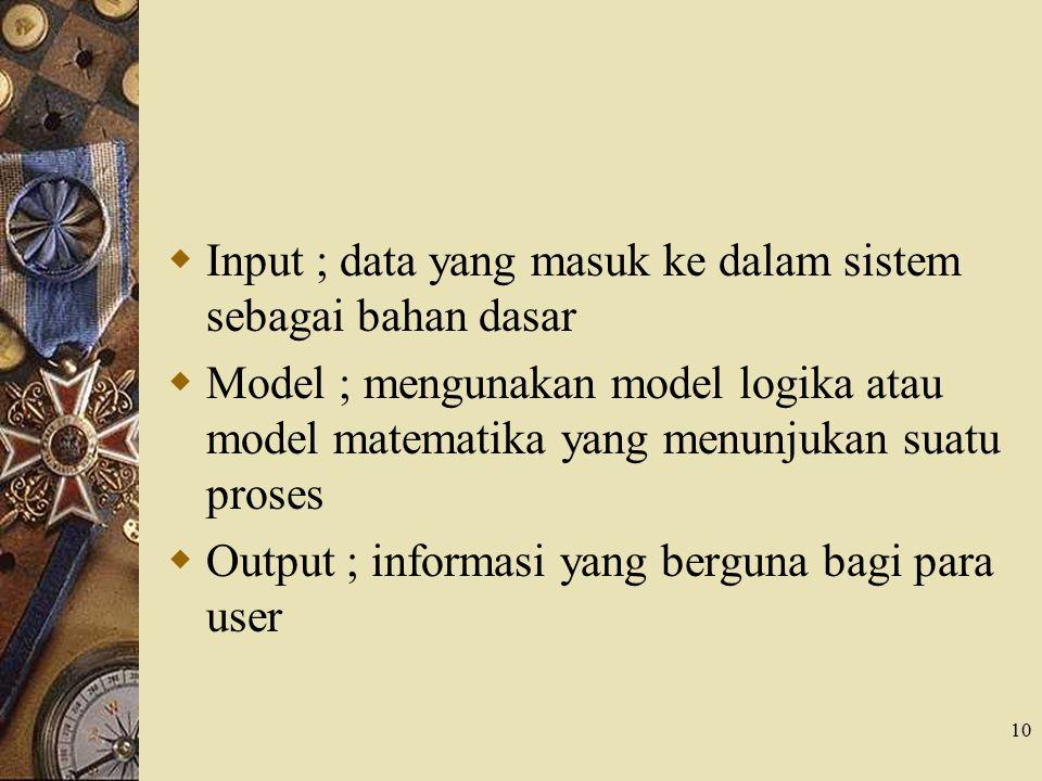 Input ; data yang masuk ke dalam sistem sebagai bahan dasar
