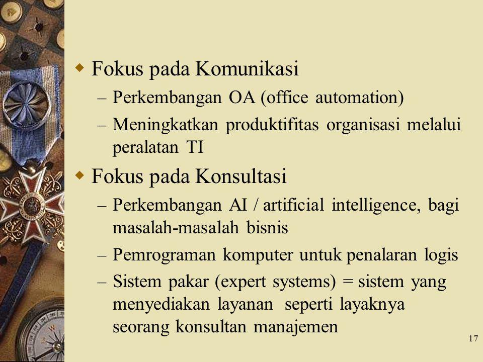 Fokus pada Komunikasi Fokus pada Konsultasi
