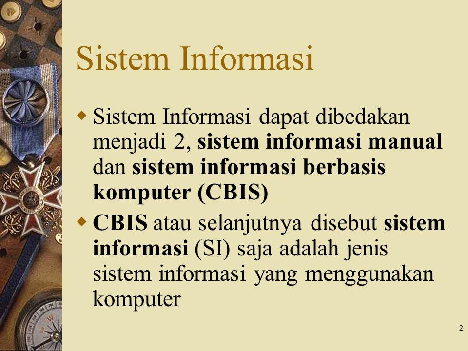 Sistem Informasi Sistem Informasi dapat dibedakan menjadi 2, sistem informasi manual dan sistem informasi berbasis komputer (CBIS)