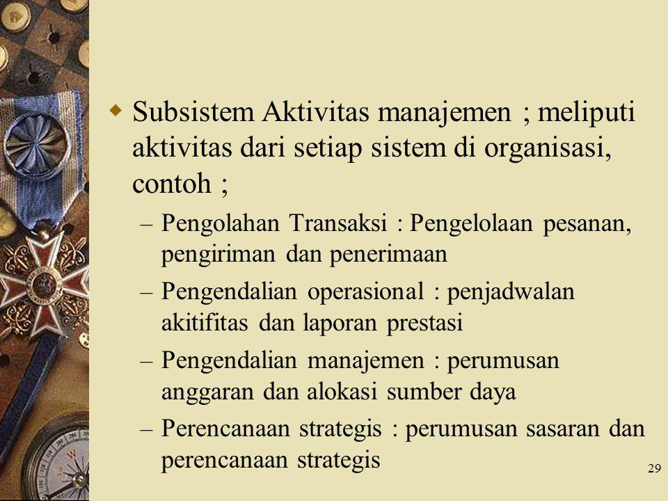 Subsistem Aktivitas manajemen ; meliputi aktivitas dari setiap sistem di organisasi, contoh ;