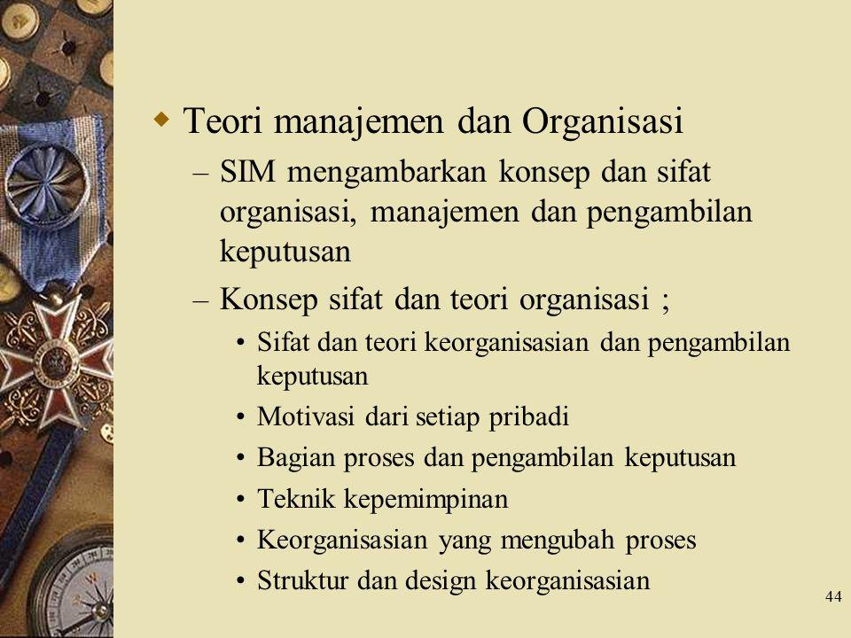 Teori manajemen dan Organisasi