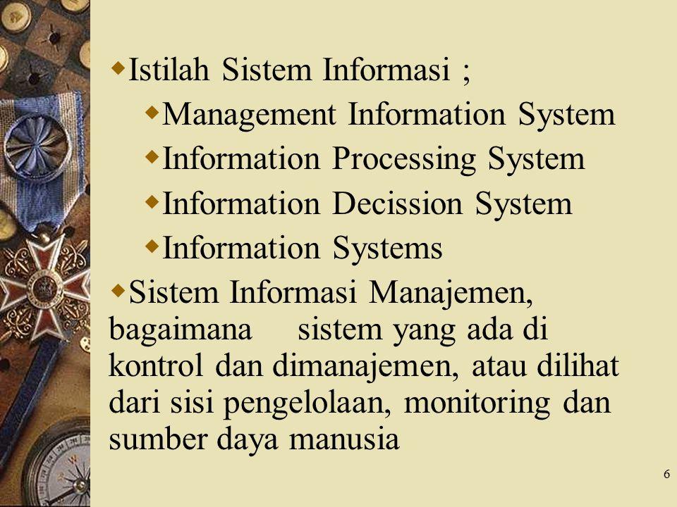 Istilah Sistem Informasi ;