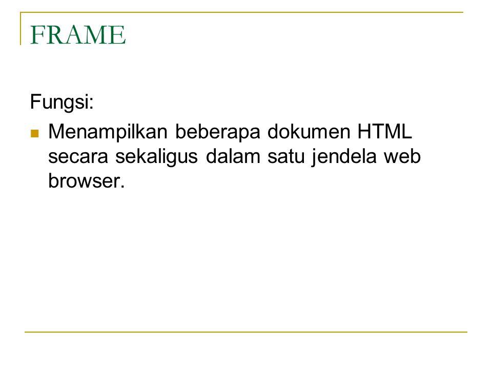 FRAME Fungsi: Menampilkan beberapa dokumen HTML secara sekaligus dalam satu jendela web browser.