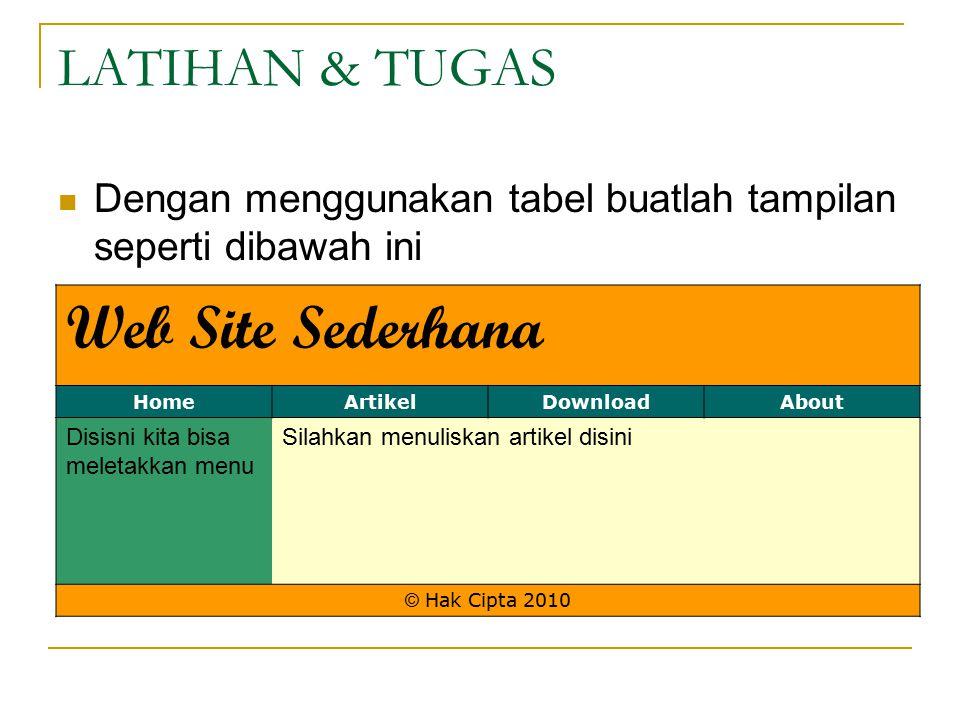 Web Site Sederhana LATIHAN & TUGAS