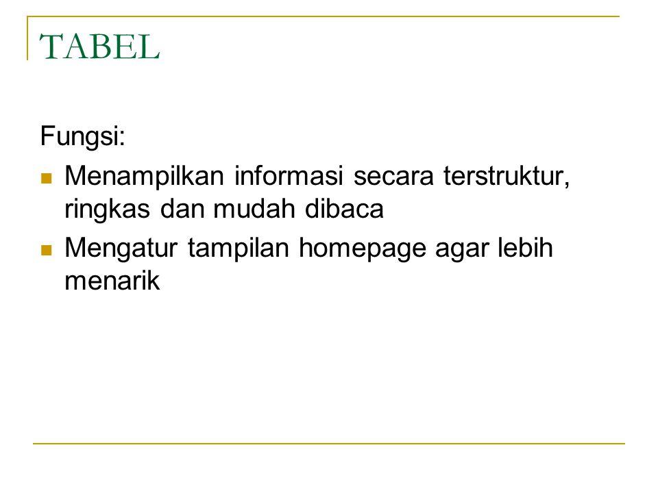 TABEL Fungsi: Menampilkan informasi secara terstruktur, ringkas dan mudah dibaca.