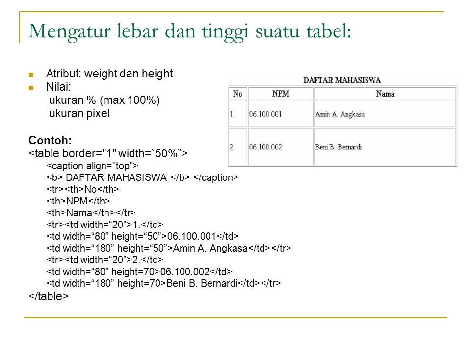Mengatur lebar dan tinggi suatu tabel: