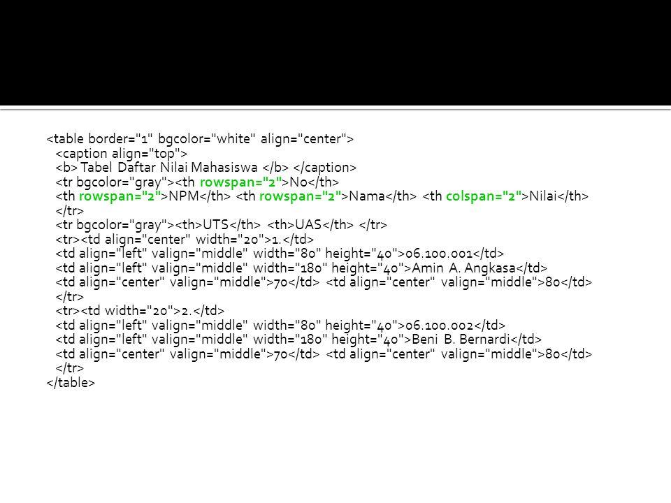 Script HTML: <table border= 1 bgcolor= white align= center >