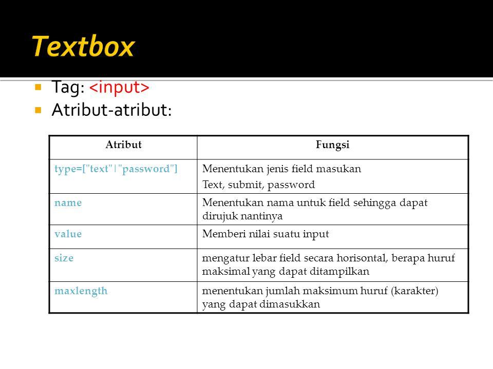 Textbox Tag: <input> Atribut-atribut: Atribut Fungsi