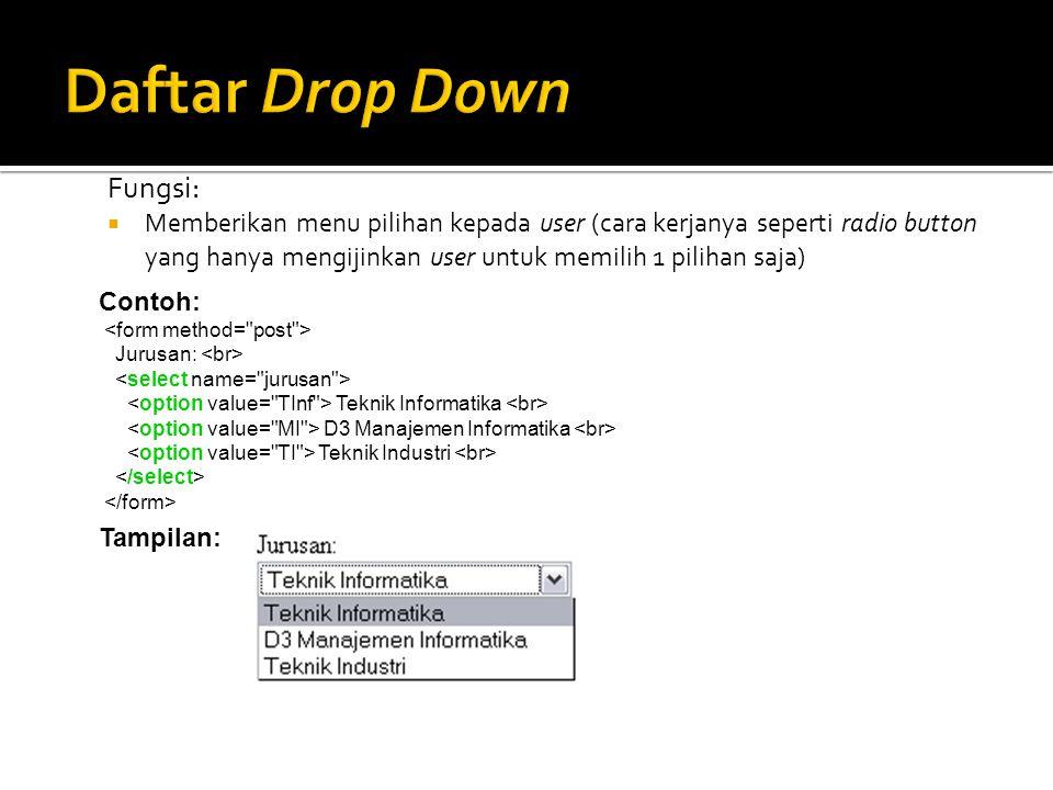 Daftar Drop Down Fungsi:
