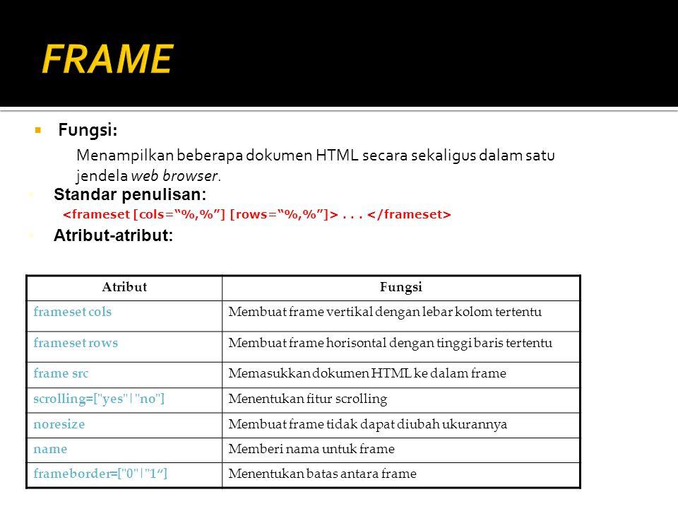 FRAME Fungsi: Menampilkan beberapa dokumen HTML secara sekaligus dalam satu jendela web browser. Standar penulisan: