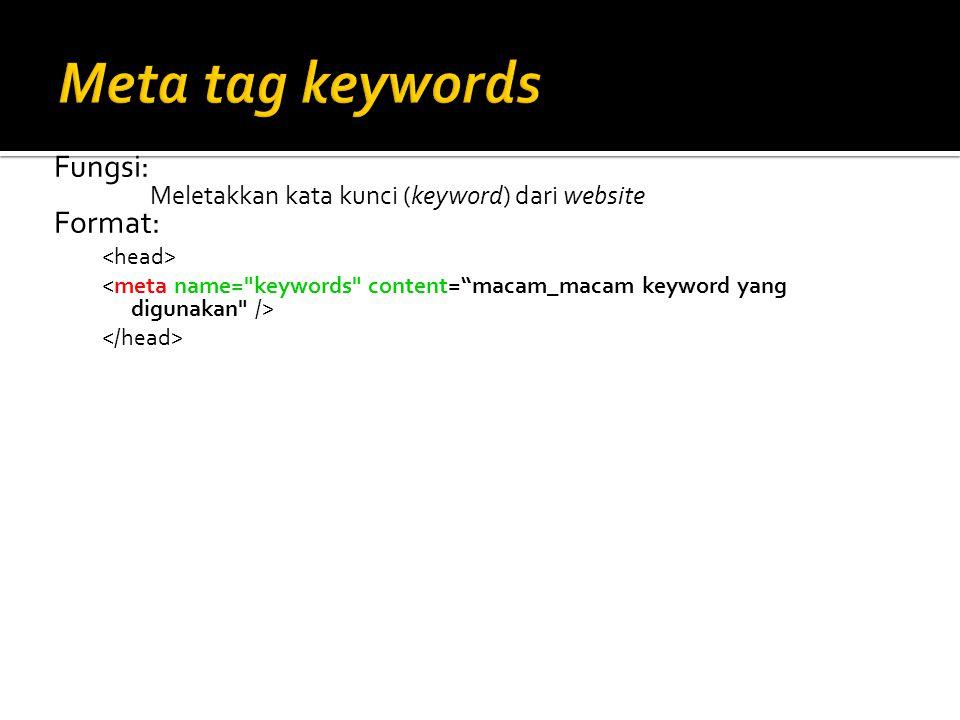 Meta tag keywords Fungsi: Format: