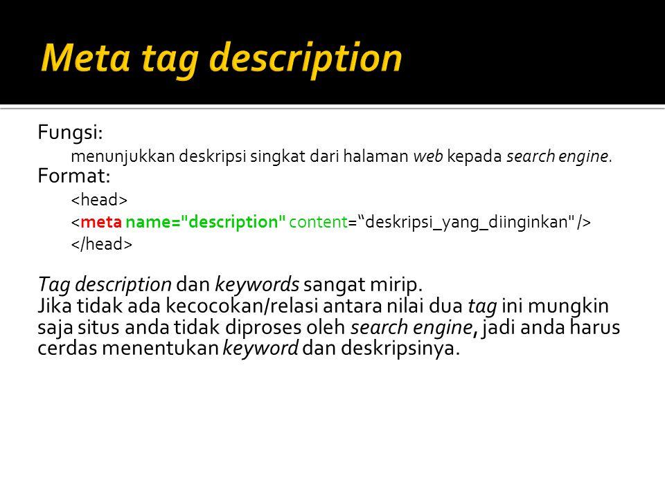 Meta tag description Fungsi: Format: