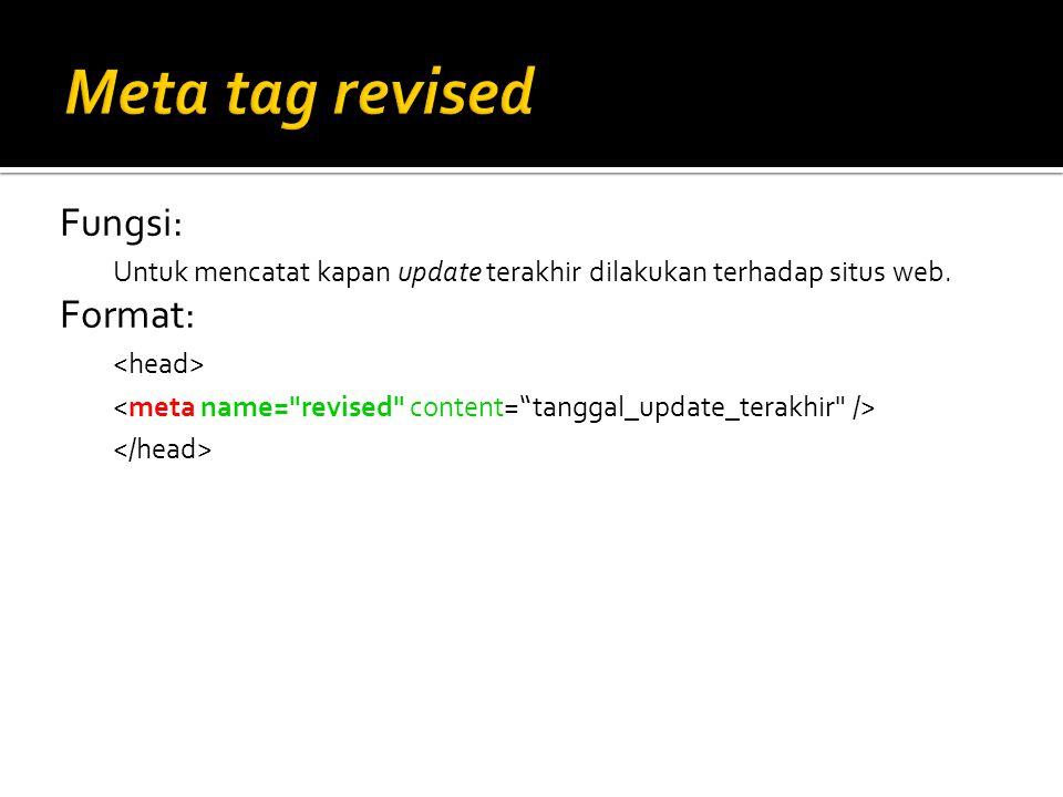 Meta tag revised Fungsi: Format: