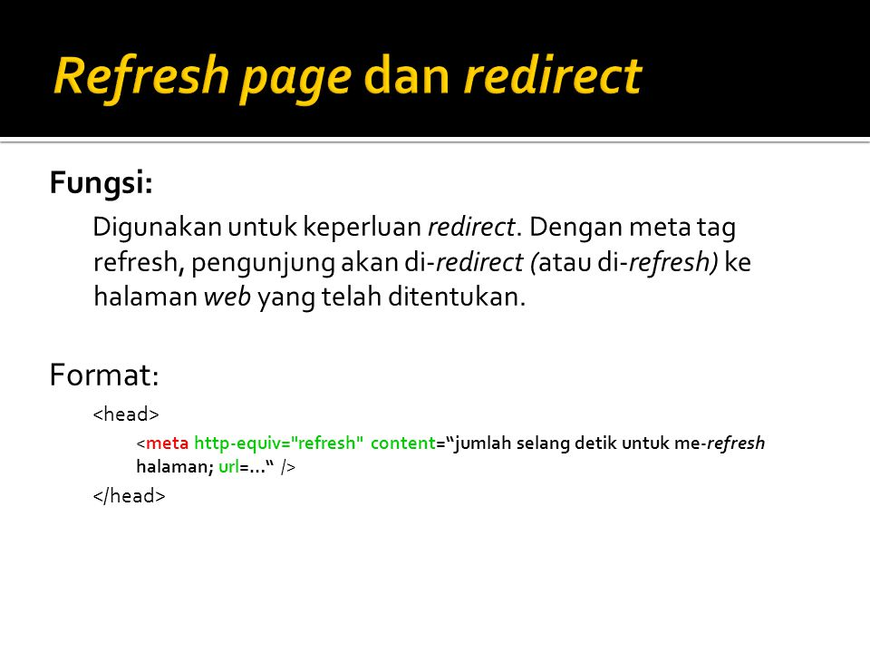 Refresh page dan redirect