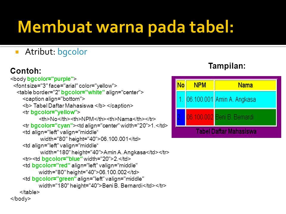 Membuat warna pada tabel: