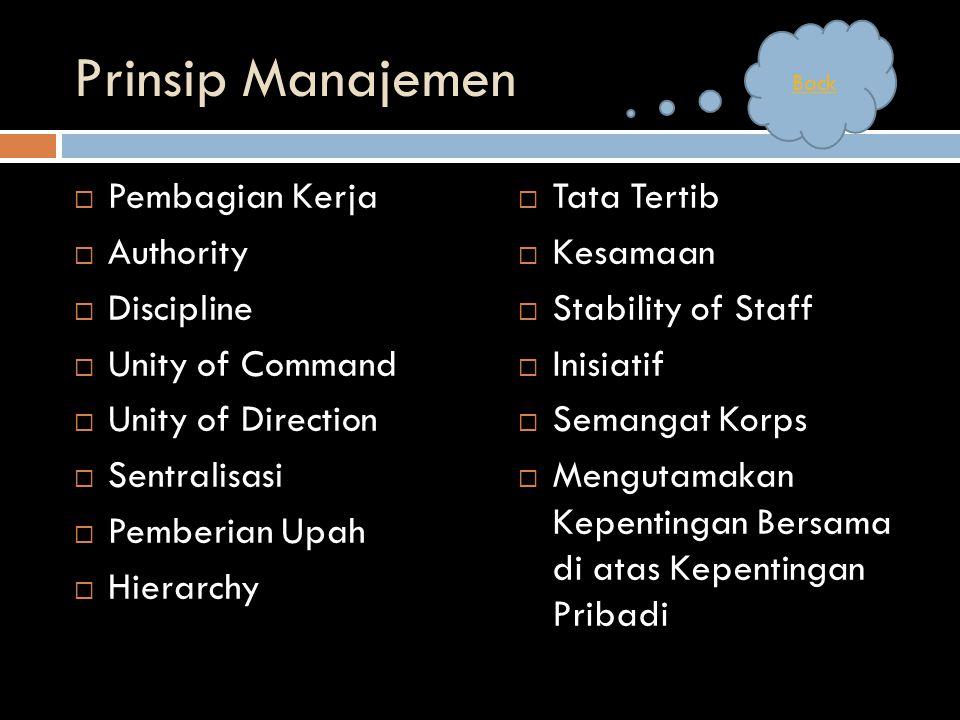 Prinsip Manajemen Pembagian Kerja Authority Discipline