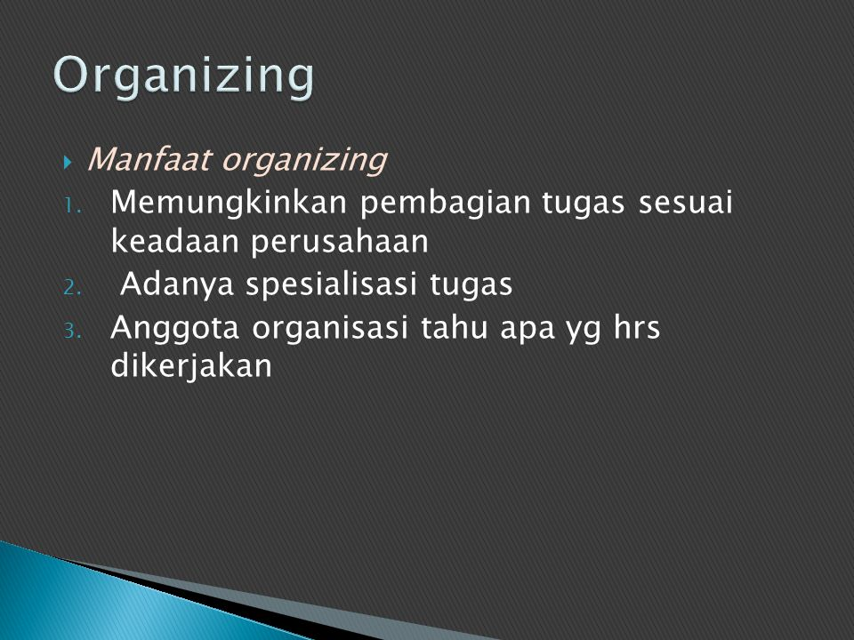 Organizing Manfaat organizing