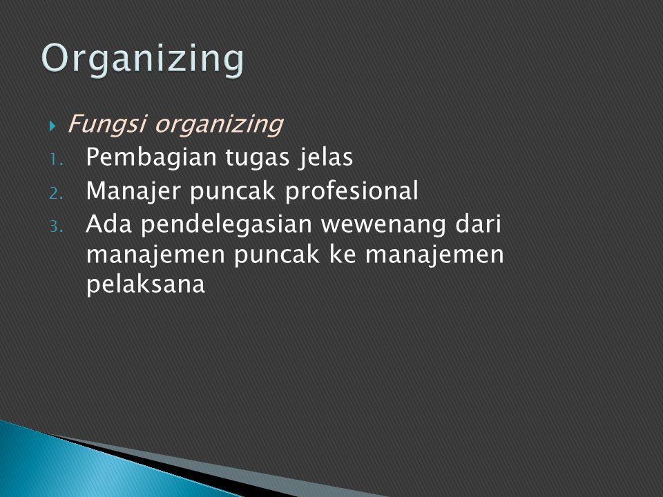 Organizing Fungsi organizing Pembagian tugas jelas
