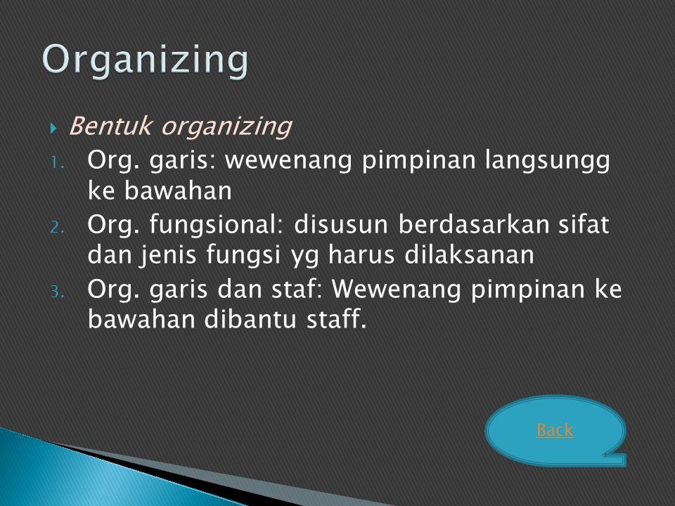 Organizing Bentuk organizing