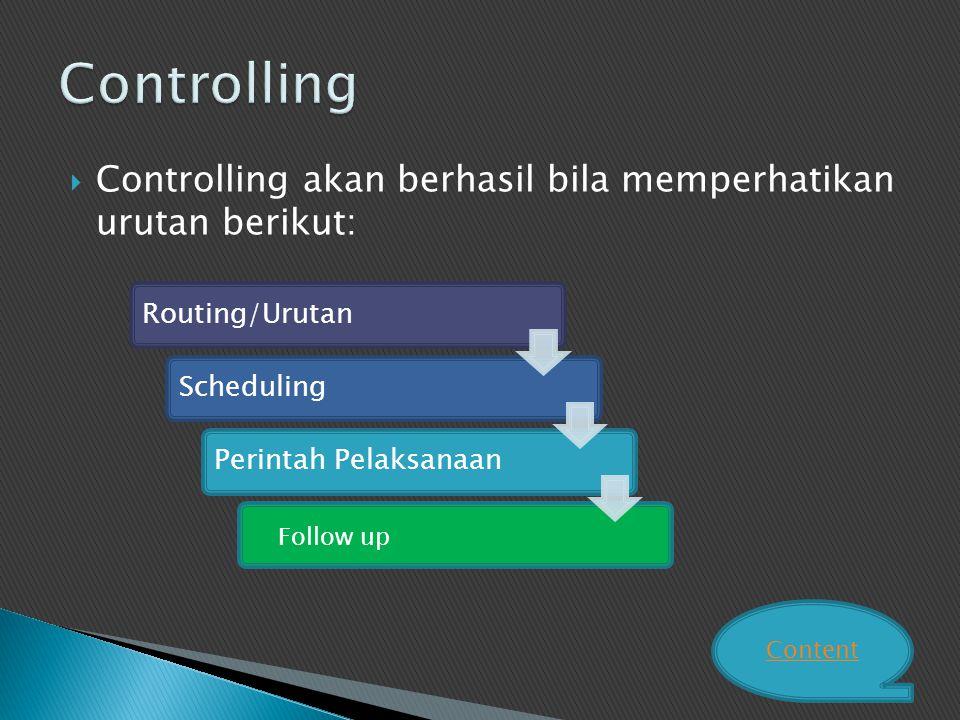Controlling Controlling akan berhasil bila memperhatikan urutan berikut: Routing/Urutan. Scheduling.