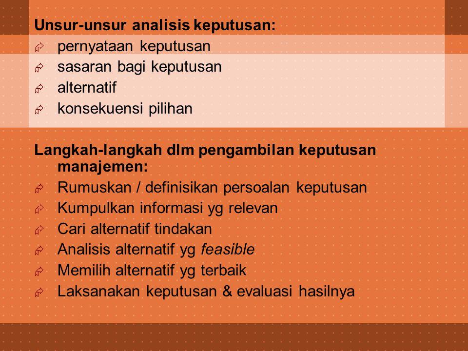 Unsur-unsur analisis keputusan: