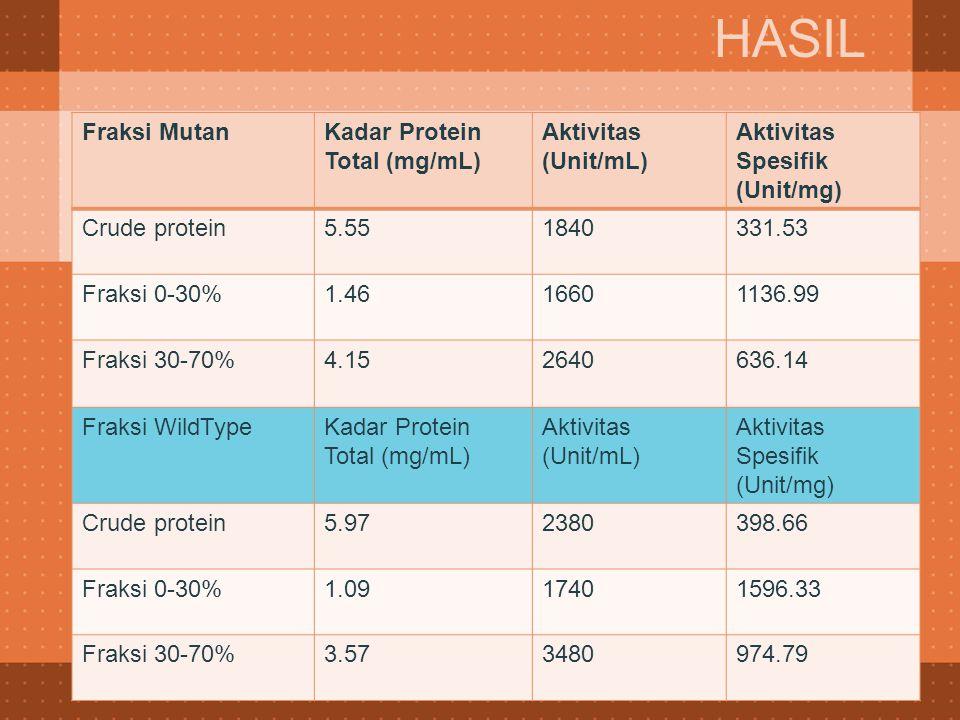 HASIL Fraksi Mutan Kadar Protein Total (mg/mL) Aktivitas (Unit/mL)