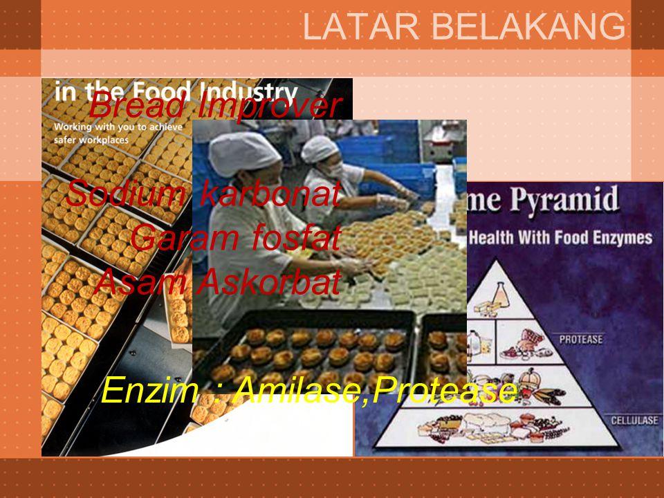 LATAR BELAKANG Bread Improver Sodium karbonat Garam fosfat Asam Askorbat Enzim : Amilase,Protease