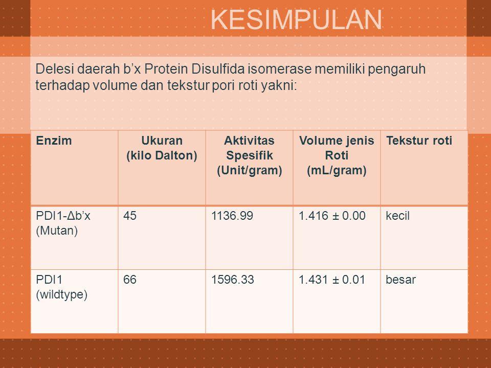 KESIMPULAN Delesi daerah b'x Protein Disulfida isomerase memiliki pengaruh terhadap volume dan tekstur pori roti yakni: