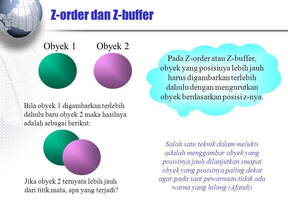 Z-order dan Z-buffer Obyek 1 Obyek 2