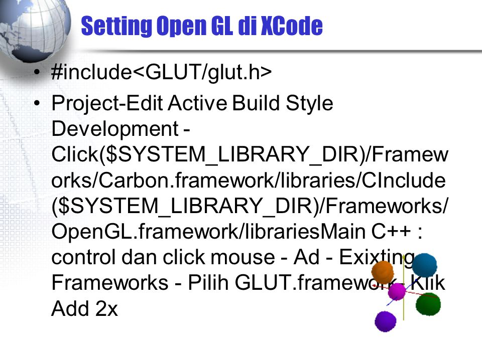 Setting Open GL di XCode
