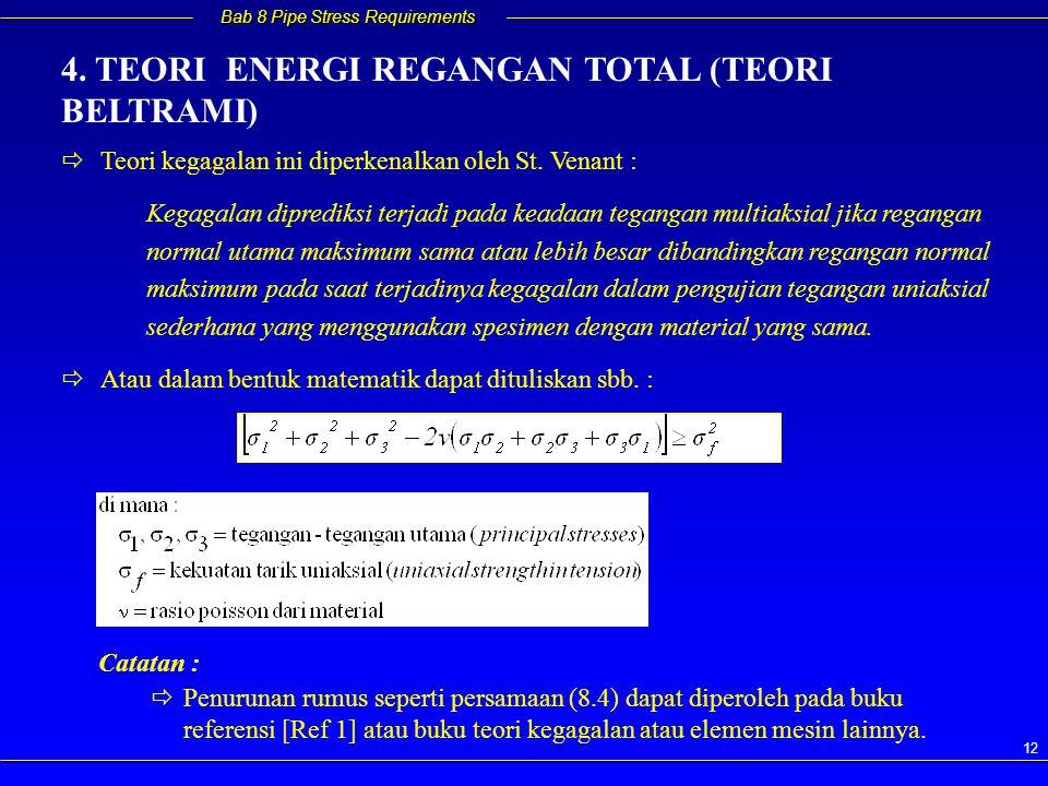 4. TEORI ENERGI REGANGAN TOTAL (TEORI BELTRAMI)