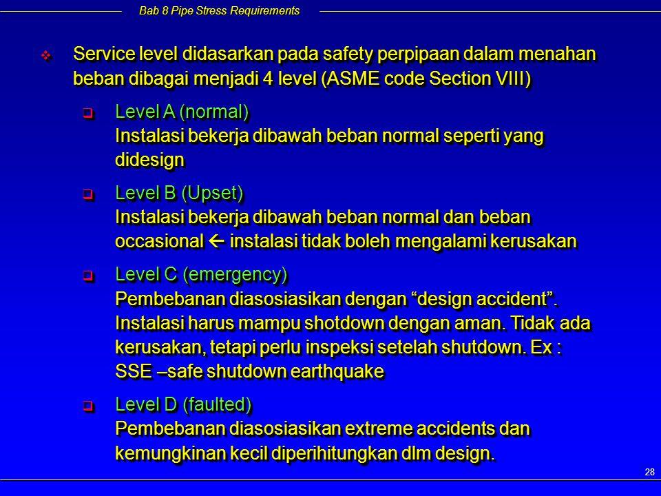 Service level didasarkan pada safety perpipaan dalam menahan beban dibagai menjadi 4 level (ASME code Section VIII)