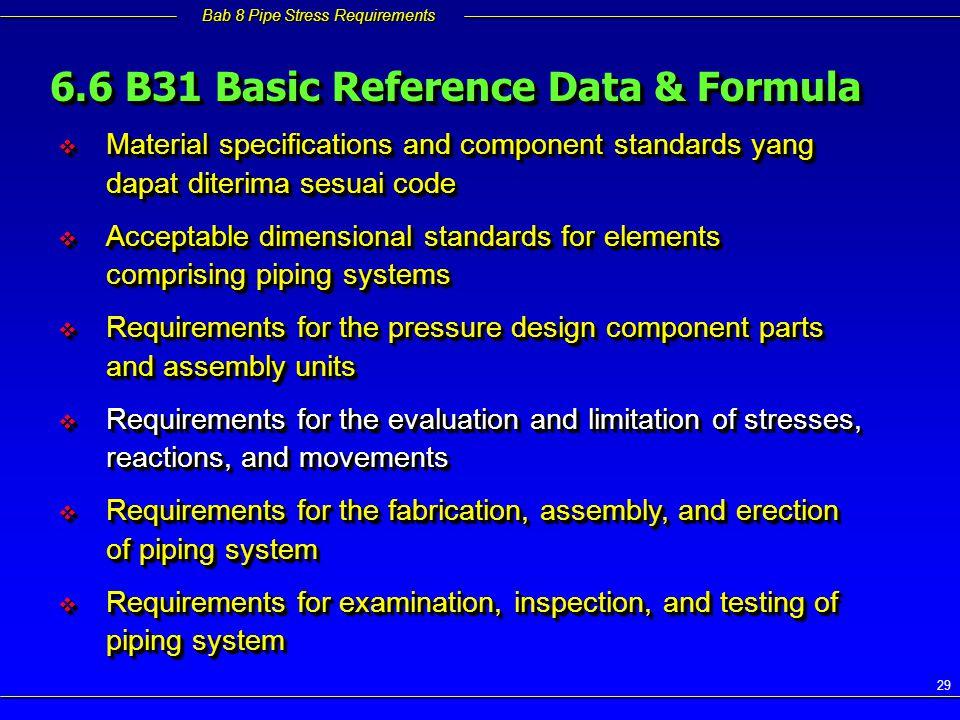 6.6 B31 Basic Reference Data & Formula