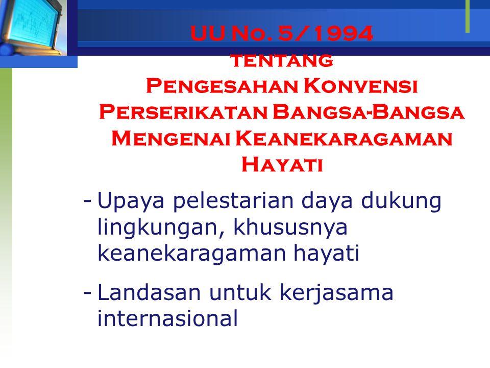 UU No. 5/1994 tentang Pengesahan Konvensi Perserikatan Bangsa-Bangsa Mengenai Keanekaragaman Hayati