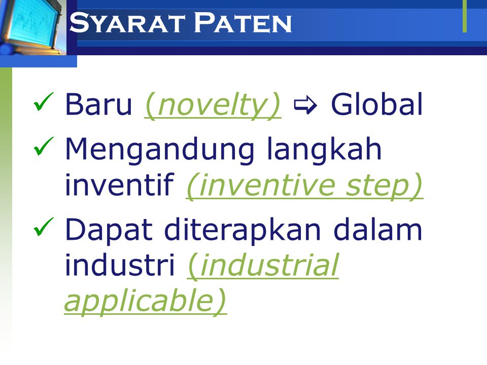 Syarat Paten Baru (novelty)  Global.