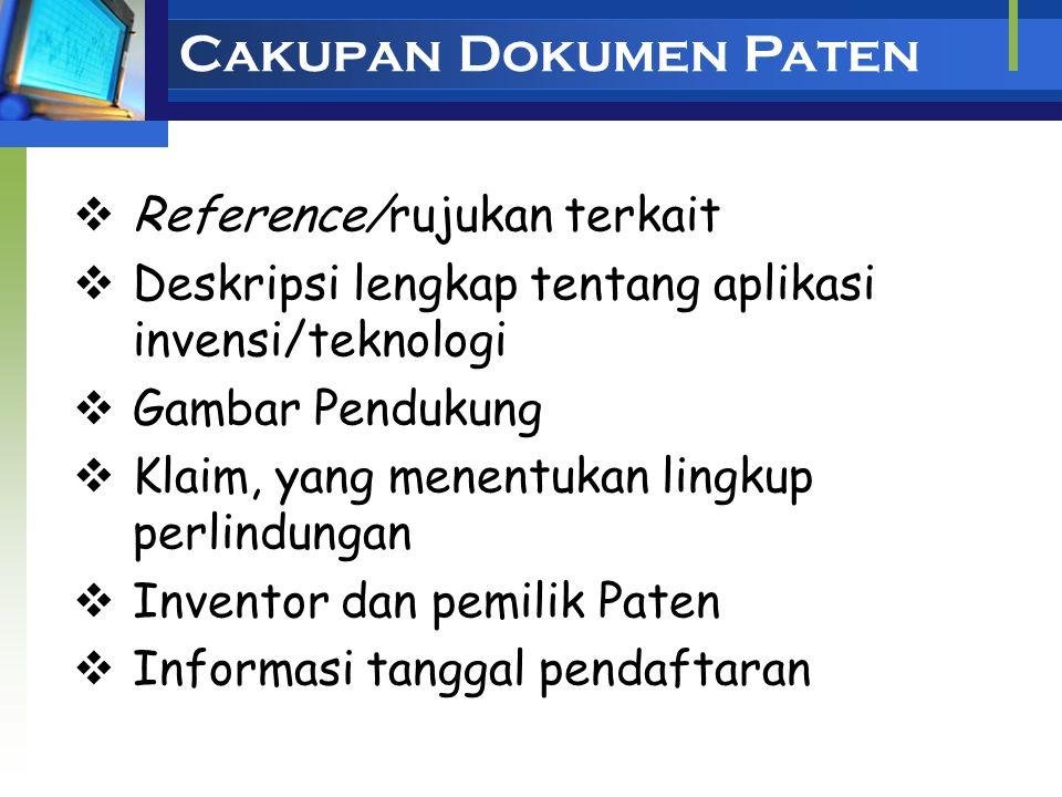 Cakupan Dokumen Paten Reference/rujukan terkait