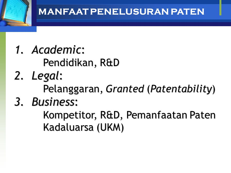 Academic: Legal: Business: Pendidikan, R&D