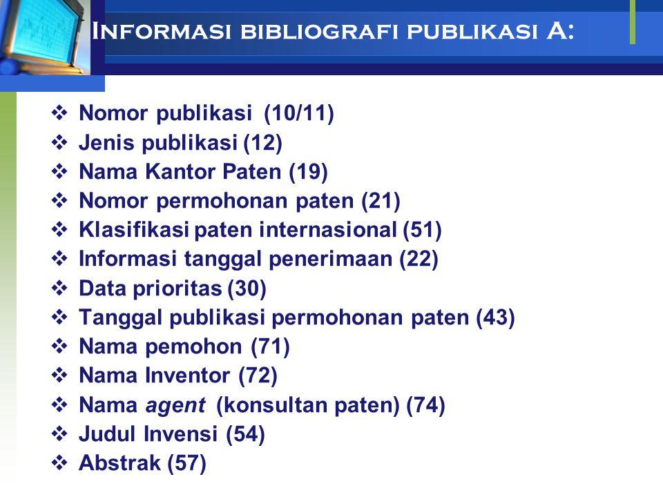 Informasi bibliografi publikasi A: