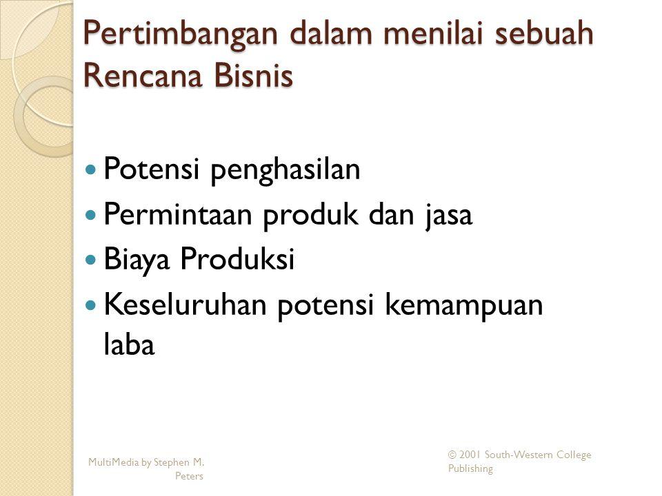 Pertimbangan dalam menilai sebuah Rencana Bisnis