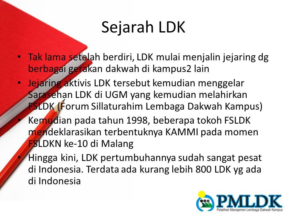Sejarah LDK Tak lama setelah berdiri, LDK mulai menjalin jejaring dg berbagai gerakan dakwah di kampus2 lain.