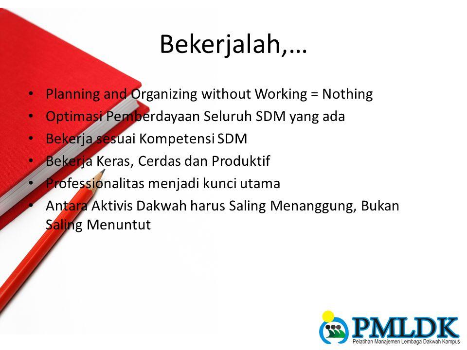 Bekerjalah,… Planning and Organizing without Working = Nothing