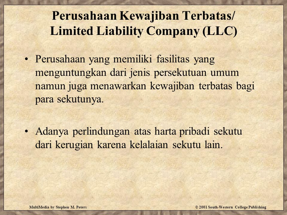 Perusahaan Kewajiban Terbatas/ Limited Liability Company (LLC)