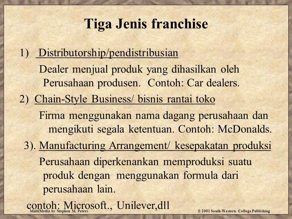 Tiga Jenis franchise Distributorship/pendistribusian