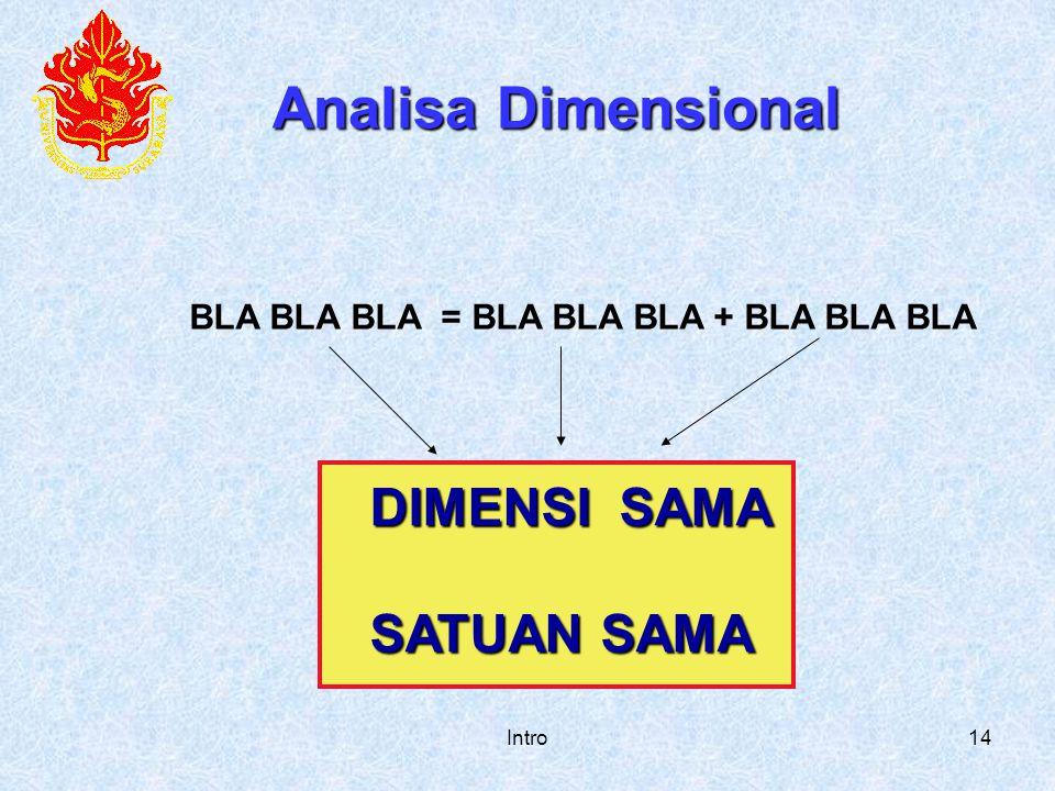 Analisa Dimensional DIMENSI SAMA SATUAN SAMA