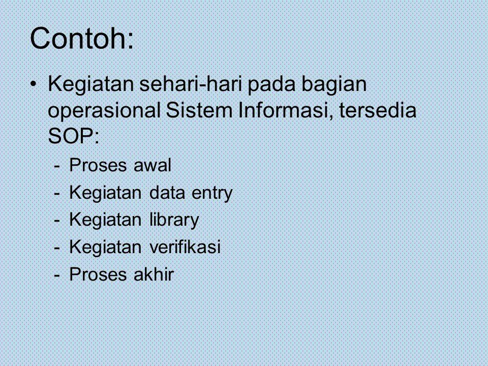 Contoh: Kegiatan sehari-hari pada bagian operasional Sistem Informasi, tersedia SOP: Proses awal. Kegiatan data entry.