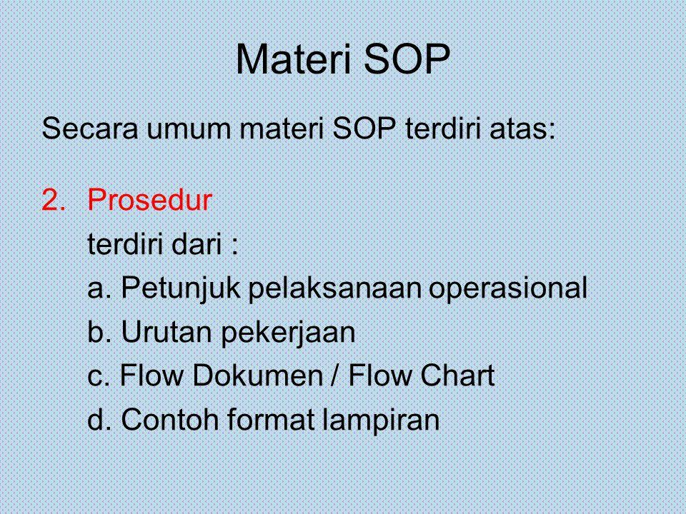 Materi SOP Secara umum materi SOP terdiri atas: Prosedur