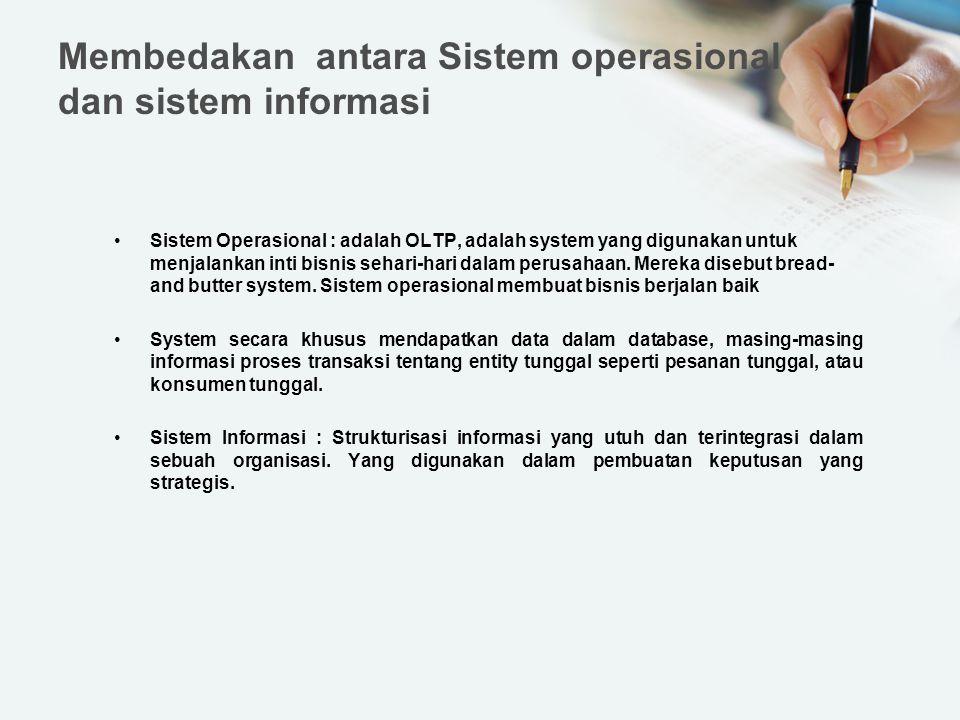 Membedakan antara Sistem operasional dan sistem informasi