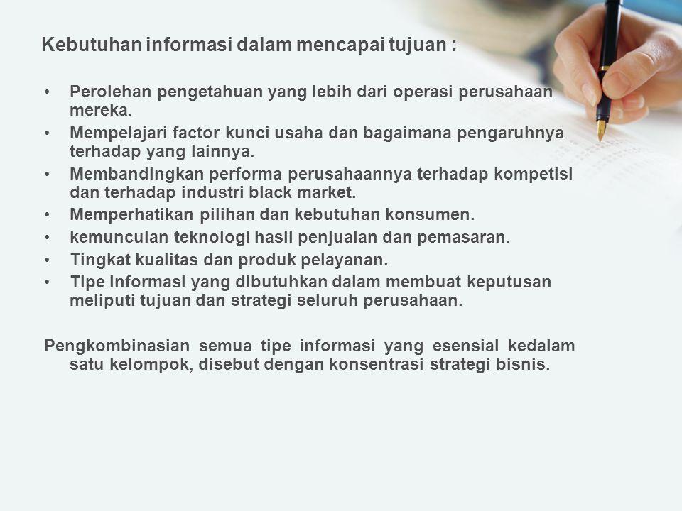 Kebutuhan informasi dalam mencapai tujuan :