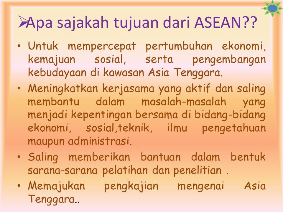 Apa sajakah tujuan dari ASEAN