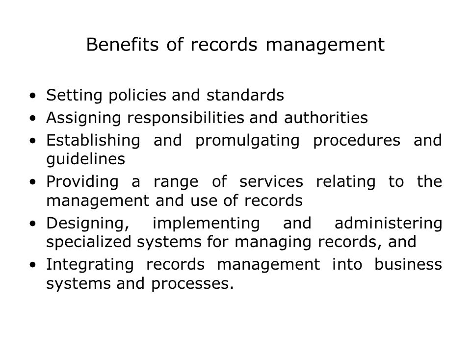Benefits of records management